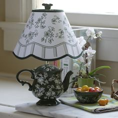 temp-tations® Floral Lace Teapot Lamp :: temp-tations® by Tara - All For House İdeas Tea Cup Lamp, Teapot Lamp, White Lamp Shade, Lamp Shades, Teacup Crafts, Diy Home Decor, Room Decor, Unique Lamps, Country Decor