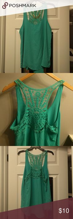Turquoise Lace Back Tank Turquoise tank with loose flowy fit and beautiful flowery lace back. Never worn, no tags. Naked Zebra Tops Tank Tops