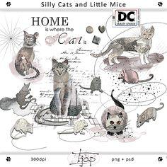 Een set met vreemde katten en kleine muizen. Te gebruiken in Art Journals en als leuke of gekke elementen in je layouts. Past prima bij de kleuren van Dutch Choice November 2017