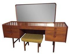 Mid-Century Danish Modern Teak Vanity Desk & Stool on Chairish.com