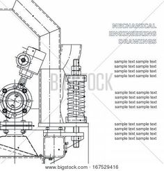 Mechanical engineering the drawing. Technical illustrations. The drawing for technical design. A cover a place for inscriptions    #bubushonok #art #bubushonokart #design #vector #shutterstock  #technical #engineering #drawing #blueprint   #technology #mechanism #draw #industry #construction #cad