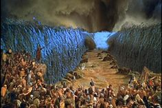 This beautiful shot of the parting of the RED SEA in THE 10 COMMANDMENTS ( 1956 ) was partly matte painted and the talent of Special Effects man JOHN P. FULTON who also took home the Oscar in '57 for his incredible visual effect. Pretty dam good for the Mid 50's.