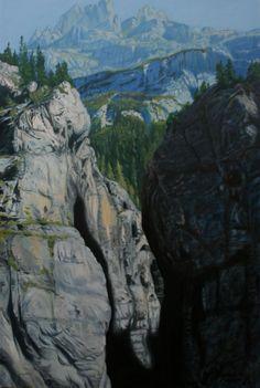 Glacier Gorge oil on canvas landscape , Switzerland.By Artist Sevina Yates. Mountain painting . Landscape art .