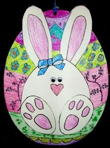 Our egg shaped bunny is attached to a large hanging egg---the Bunny Egg-spress. Both sides of our hanging bunny are finished—one one side is a boy bunny and on the other side a little girl bunny. If only one side of the bunny is finished, a group of . Spring Art Projects, Easter Projects, Easter Ideas, April Easter, Easter Bunny, Easter Eggs, Easter Arts And Crafts, Bee Embroidery, Easter Activities