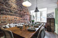 What a lovely wall / Mikä ihana seinä Home, Table Settings, Dining, Loft, Dining Table, Table, Wall