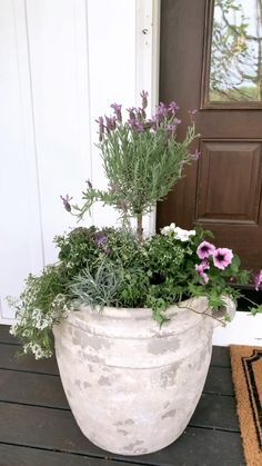 Front Porch Plants, Front Porch Flowers, Front Door Planters, Garden Planters, Front Porch Garden, Porch Planter, Porch Shades, Small Patio Design, Front Door Makeover