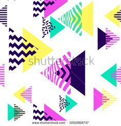 Geometric triangle seamless. Memphis art trendy colorful unique pattern.