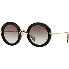 Miu Miu MU80RS Round Metal Frame Sunglasses , Black (1.795 RON) ❤ liked on Polyvore featuring accessories, eyewear, sunglasses, black, rounded sunglasses, metal frame glasses, black oval sunglasses, adjustable lens glasses and round lens sunglasses