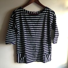 "GAP Navy Striped Shirt Navy and mint striped 3/4 sleeve shirt from GAP. Size XS and 100% cotton. Has two small pockets on front and approx. 2"" vents on each side. Fabric is thicker than average tshirt. Worn/washed less than a handful of times. Great used condition! GAP Tops"