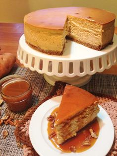sweet potato cheesecake truly is a decadent treat; the silky texture melts in your mouth and you are left with hints of sweet potato, cinnamon, and nutmeg afterwards Vegetarian Cheesecake Recipe, Cheesecake Recipes, Dessert Recipes, Dessert Ideas, Custard Desserts, Just Desserts, Sweet Potato Cheesecake, Potato Pudding, Sweet Potato Recipes