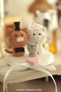gato y gatito boda Topper Torta para la pareja por kikuike