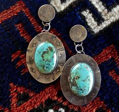 OUTSTANDING SIGNED NAVAJO TURQUOISE STERLING SILVER DANGLE DROP EARRINGS