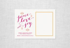 Peace Love Joy Holiday Photo Card | Missive | Letterpress Cards Stationery Announcements Custom Wedding Invitations San Francisco
