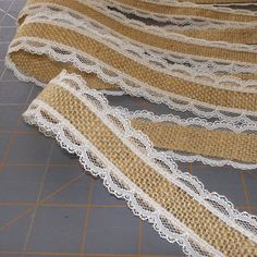 Ivory Lace with Burlap Ribbon - 1.25 inch x 3 yards. $6.00, via Etsy.