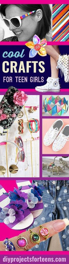 Cool Crafts For Teen Girls - Fun, Easy DIY Projects for Creative Teens, Tweens and Teenagers. Girls love these crafty ideas for decor, gifts, fashion, jewelry and room decor.