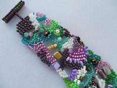 Bracelet Freeform peyote Beaded bracelet by sollasjewelry on Etsy
