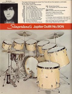 ELO Drummer Bev Bevan in ad. From Slingerland Drum Catalog: Jupiter Outfit Rock And Roll History, Jeff Lynne, Vintage Drums, Drummer Boy, How To Play Drums, Music Theater, Drum Kits, Music Stuff, Orchestra