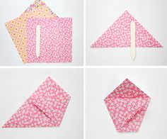 scan vintage fabric, print onto stiff paper and fold origami envelopes by Janis Nicolay