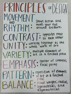 Principles of Design Poster - Mrs. Art Class Posters, Classroom Posters, Art Classroom, Classroom Signs, Principles Of Design Movement, Elements And Principles, Art Elements, High School Art, Middle School Art