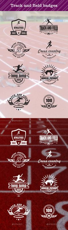 Track and Field Badges, sport emblems, sport logos, competition emblems