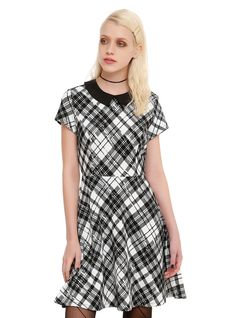 "<p>Fit and flare style dress with a black and white plaid print, black collar and keyhole accent on the back.</p>  <ul> <li>34"" long from shoulder</li> <li>Self: 97% polyester; 3% spandex</li> <li>Contrast: 97% cotton; 3% spandex</li> <li>Wash cold; dry low</li> <li>Imported</li> </ul>"