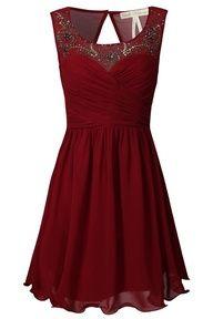 Maroon dress, sheer, beaded
