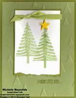 "Handmade Christmas card using Stampin' Up! products - Festival of Trees Set, On Point Embossing Folder, 1/4"" Cotton Ribbon, and Itty Bitty Accents Punch Pack. By Michele Reynolds, Inspiration Ink, http://inspirationink.typepad.com/inspiration-ink/2014/08/august-christmas-card-camp-follow-up.html."