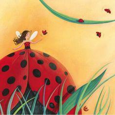 """Marie Cardouat  carte postale carrée (14 cm) """"La fille et la coccinelle"""""""