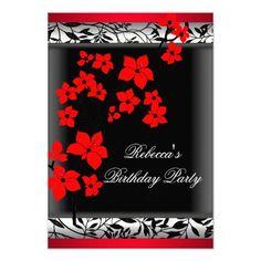 Elegant Asian Red Flowers White Black Custom Invitation Debut Ideas Invitations