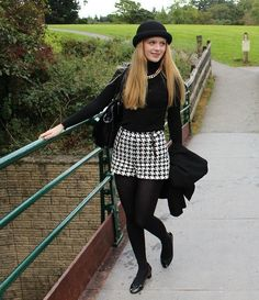 Short Outfits, Girl Outfits, Black Opaque Tights, Girls Designer Clothes, Polo Neck, Daddys Girl, Wearing Black, Houndstooth, Breien
