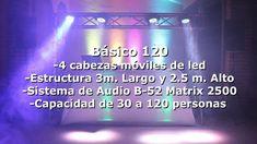 Equipo de sonido profesional estéreo con capacidad de 30 a 100 personas con un sistema B-52 Matrix 2500 como el que se muestra en la imagen Cabina de Dj Pionner ó Denon con Laptop, micrófono Inalámbrico, audífonos, ETC. Maquina generadora de humo profesional no tiene olor se usa a discreción Equipo de iluminación basado en 4 cabezas móviles de led    Mas Informacion Bicitar Pagina Web