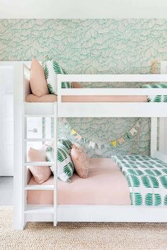 Beach House Decor 54450 Dream Home Tour: Inviting beach house getaway in the Hamptons Bunk Beds For Girls Room, Bunk Bed Rooms, Big Girl Rooms, Room Decor For Girls, Girls Pink Bedroom Ideas, Girls Bedroom Decorating, Teen Bunk Beds, House Bunk Bed, Bedroom For Girls Kids