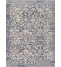 The look of a worn vintage rug in a soothing gray and blue palette. Perfect for under your dining room table paired with some bright whites and dark wood.