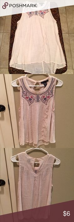 NWOT Living Doll Top Juniors XL Living Doll top in sheer light beige with multicolor embroidery around neck. Keyhole back with button at top. High Lo style. Tops Blouses