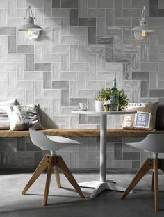 We offer an array of glazed ceramic & porcelain tiles at Mandarin Stone in lustrous shades, from subtle neutrals to gleaming pastels. Decor, Kitchen Feature Wall, Contemporary Interior Design, Indoor Tile, Tiles, Interior Window Shutters, Home Decorators Collection, Home Decor, Kitchen Wall Tiles