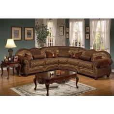 Deborah Traditional Style Sectional Sofa Brown