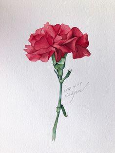 Watercolor Artwork, Watercolor Landscape, Watercolor And Ink, Watercolor Trees, Watercolor Portraits, Botanical Drawings, Botanical Art, Watercolor Flowers Tutorial, Month Flowers