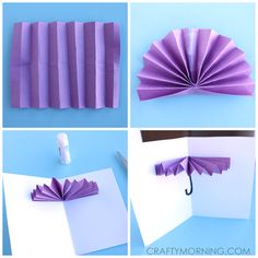 Materials Needed: Purple, yellow, tan paper Scissors Glue/tape Googly eyes Markers Watercolors Start by cutting a rectangle out of colored paper. Fold it back and forth until you get to the end. Pinch it together and then fold it in half. Tape the middle parts together and glue the middle bottom part. Lay it flat …