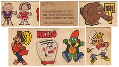 Kellogg's Fuzzy Figure Stickers - 1970's  I remember these!!  We also got rub on transfers of the Apple Jacks kids!