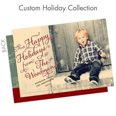 Custom Holiday Cards Custom Collection: Holly Typography
