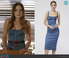 Fallon's blue bustier dress on Dynasty Bustier Dress, Sequin Mini Dress, Cutout Dress, Corset Dresses, Fashion Tv, High Fashion, Fashion Outfits, Couture Outfits, Dress Outfits