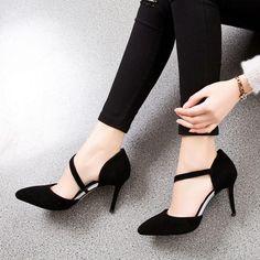 Women Suede Side Hollow Pointy Toe High Heel
