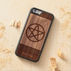Pentacle Personalized Walnut iPhone 6 Bumper Case, real wood iphone case #iphone6 #pentagram #iphonecase