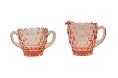 Pink Sugar Bowl & Creamer Set Pink Depression by HazelHuezDesign