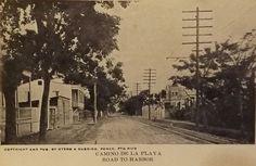 """Tarjeta Postal del Editor Otero & Sobrino con Estampilla y Circulada desde Ponce en 1915 """"Camino de la Playa"""" Ponce, Puerto Rico"""