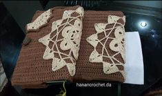 Crochet book cover Crochet Book Cover, Crochet Books, Book Binding, Burlap, Reusable Tote Bags, Handmade, Hand Made, Hessian Fabric, Jute