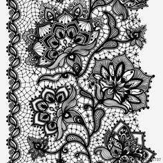 Vector: Abstract lace ribbon seamless pattern with elements flowers