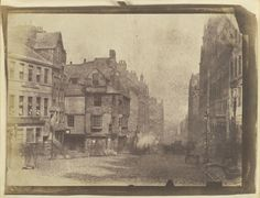 David Octavius Hill and Robert Adamson - The High Street in Edinburgh, with John Knox's house, 1844