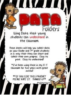 Using Data that young students can understand in the classroom.These sheets will help you collect data on your Kinder and grade students in. Student Data Folders, Data Binders, Data Notebooks, Teacher Binder, Teacher Organization, Teacher Tools, Kindergarten Classroom, Classroom Activities, Teaching Kids