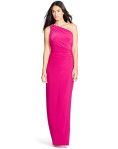 Ruched One-Shoulder Gown - Lauren Evening Dresses - RalphLauren.com Vestidos  De Mujer 63117a75d52